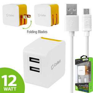 Cellet Universal High Powered 12W/2.4A Dual USB Home Charger (4 ft. Micro USB Cable Included) - Orange - Mobile Accessories USA