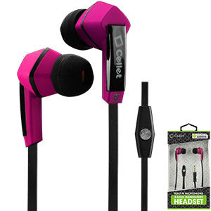 Cellet Square 3.5mm Flat Wire Stereo Hands-Free Ear Buds - Black/Pink - Mobile Accessories USA