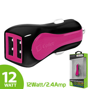 Cellet Prism RapidCharge 12W 2.4A Dual USB Car Charger for Android and Apple Devices - Pink - Mobile Accessories USA