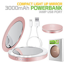Cellet Compact Light Up Mirror powerbank, 3000mAh Battery, 1Amp USB Port - Rose