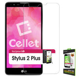 LG Stylus 2 Plus Tempered Glass Screen Protector, Cellet 0.33mm Premium Tempered Glass Screen Protector for LG Stylus 2 Plus (9H Hardness) - Mobile Accessories USA
