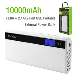 Cellet 10000mAh 2-Port USB Portable External Power Bank for Tablets & Smartphones (Micro USB and Type-C Adapter Included)- White - Mobile Accessories USA