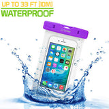 Cellet Universal IPX8 Waterproof Case for Apple iPhone 7 Plus, 6s Plus, Samsung Galaxy S7 edge, Large Smartphones, Digital Cameras, MP3 Players and More - Purple - Mobile Accessories USA