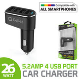 Cellet Universal 26W 5.2 Amp 4-Port Car Charger for Android and Apple Devices - Black - Mobile Accessories USA