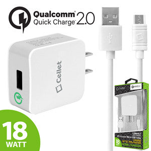 Cellet 18 Watt USB Wall Charger with Qualcomm Certified Quick Charge 2.0 Technology (4 ft. Micro USB Cable Included) - White - Mobile Accessories USA