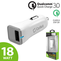 Cellet Ultra-Compact USB Car Charger with Quick Charge 3.0 for Smartphones and Tablets (QC 1.0 & QC 2.0 Device Compatible) - White - Mobile Accessories USA