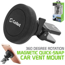 Cellet Universal Premium Quick-Snap Smartphone Car Vent Mount with 360 Degree Rotation - Mobile Accessories USA