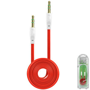Cellet 3.5mm Flat Wire Audio Cable for Smartphones/Tablets/MP3 Players - Red - Mobile Accessories USA