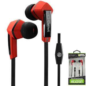 Cellet Square 3.5mm Flat Wire Stereo Hands-Free Ear Buds - Black/Red - Mobile Accessories USA