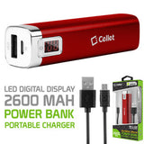 Cellet 2600mAh Power Bank Portable Charger with LED Digital Display - Red - Mobile Accessories USA