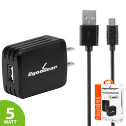 Samsung S7 charger, CyonGear 5W /1 Amp Home Charger (4 ft. Micro USB cable Included) – Black - Mobile Accessories USA
