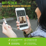 Cellet BIT-STICK 3.5mm Auxiliary & Bluetooth Music Receiver Adapter Silver - Mobile Accessories USA
