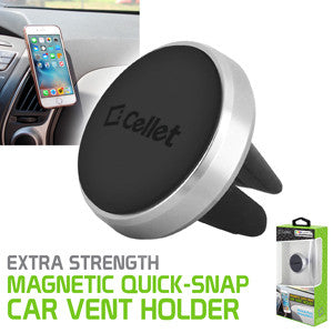 Cellet Universal Extra Strength Magnetic Quick-Snap Car Vent Smartphone Holder Silver - Mobile Accessories USA