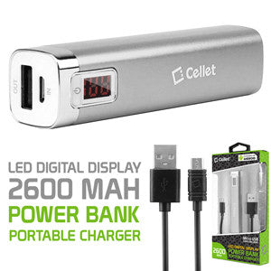 Cellet 2600mAh Power Bank Portable Charger with LED Digital Display - Silver - Mobile Accessories USA