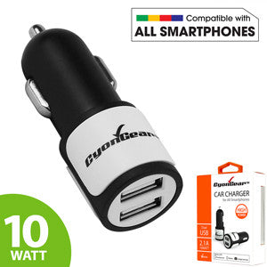 CyonGear Universal High Power 10W / 2.1A Dual USB Car Charger - Mobile Accessories USA