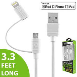 Cellet 2 in 1 Micro USB + Lightning (Licensed by Apple, MFI Certified) Charging/Data Sync Cable - White - Mobile Accessories USA