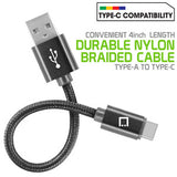 Type C Cable, Cellet 4 In. Premium Nylon Braided Fast charging Type C Cable - Mobile Accessories USA
