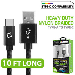 Type-C Cable, Cellet 10ft (3m) Heavy Duty Nylon Braided USB-A to USB-C for HTC 10, LG G5, Nexus 5X/6P, LG V20, Samsung Galaxy Note 7- Black - Mobile Accessories USA