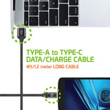Flexible / Soft / Tangle-Free Type A to type C Data cable - by Cellet Black - Mobile Accessories USA