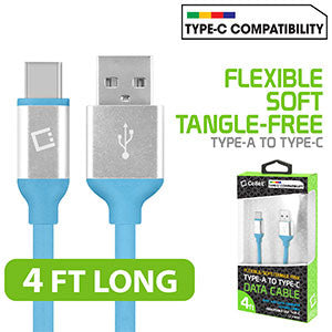 Flexible / Soft / Tangle-Free Type A to type C Data cable - by Cellet Blue - Mobile Accessories USA