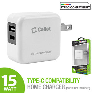 Cellet High Powered 3A 15W Universal USB Type-A and USB Type-C Dual Port Home Charger for LG G5, Nexus 5X, Nexus 6P, Nokia Lumia 950/950 XL, OnePlus 2, Samsung Galaxy Note 7 - Mobile Accessories USA
