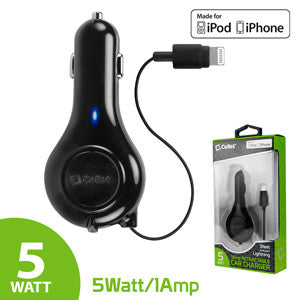 Cellet 5Watt (1Amp) Lightning Retractable Car Charger (Apple MFI Certified) - Mobile Accessories USA