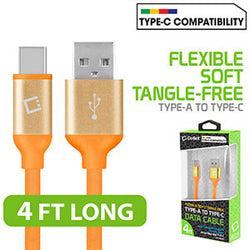 Flexible / Soft / Tangle-Free Type A to type C Data cable - by Cellet Orange - Mobile Accessories USA