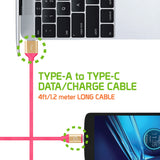 Flexible / Soft / Tangle-Free Type A to type C Data cable - by Cellet Pink - Mobile Accessories USA