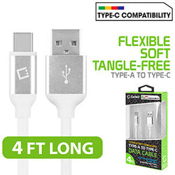Flexible / Soft / Tangle-Free Type A to type C Data cable - by Cellet White - Mobile Accessories USA