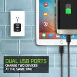 Cellet Universal 12W/2.4 Amp TabletSmart Dual USB Home Charger (Micro USB Cable Included) - Black - Mobile Accessories USA