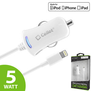 Cellet White Ultra Compact 5 Watt (1 Amp) Lightning 8 Pin Car Charger for iPhone 5, 5s, 5c, 6, 6 Plus, iPod Touch 5th Gen, iPod Nano 7th Gen (Apple MFI Certified) - Mobile Accessories USA