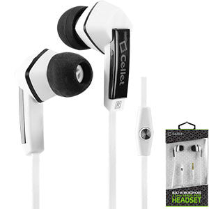 Cellet Square 3.5mm Flat Wire Stereo Hands Free Ear Buds - White/Black - Mobile Accessories USA
