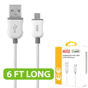 RUIZ by Cellet 6ft. Charging/Data Sync Micro USB Cable - White - Mobile Accessories USA