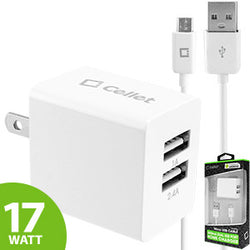 Cellet 17Watt (3.4Amp) Dual USB Port Home and Travel Charger with Micro USB Cable - White - Mobile Accessories USA