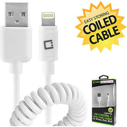 Cellet Apple Licensed Durable Lightning 8 Pin to USB Charging/Data Sync Coiled Cable - White - Mobile Accessories USA