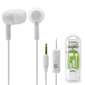 Cellet 3.5mm Hands Free Stereo Earphones with Microphone - White - Mobile Accessories USA