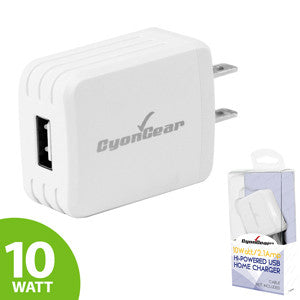 CyonGear 10W / 2.1 Amp Hi-Powered USB Home Charger - White - Mobile Accessories USA