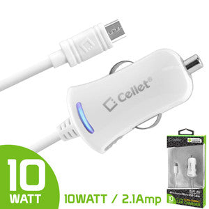 Cellet High Powered 10Watt (2.1Amp) Micro USB Car Charger for Smartphones and Tablets -White - Mobile Accessories USA