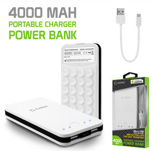 Cellet 2-Port 4000mAh Portable Charger Power Bank - White - Mobile Accessories USA