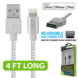 Cellet 4ft. Heavy Duty Braided Apple MFI Certified Lightning to Reversible USB Charging/Data Sync Cable - White - Mobile Accessories USA