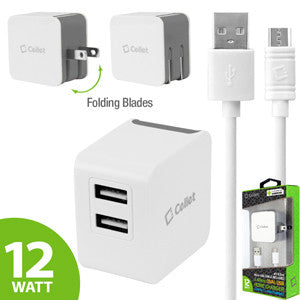 Cellet Universal High Powered 12W/2.4A Dual USB Home Charger (4 ft. Micro USB Cable Included) - Grey - Mobile Accessories USA
