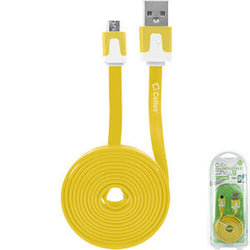 Cellet 4 Ft. Flat Wire Micro USB Charging/Data Cable -Yellow - Mobile Accessories USA