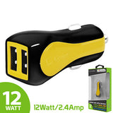 Cellet Prism RapidCharge 12W 2.4A Dual USB Car Charger for Android and Apple Devices - Yellow - Mobile Accessories USA
