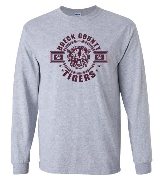 Copy of Copy of BCMS Spirit Wear 2019 BCMS Tiger Circle Design Sport Grey Longsleeve T-Shirt