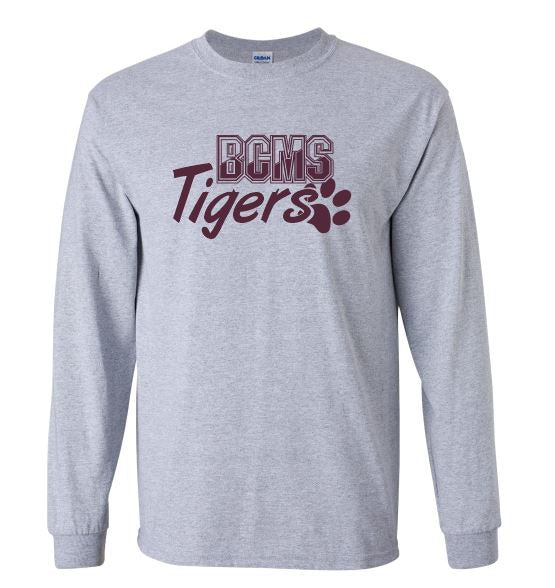 Copy of BCMS Spirit Wear 2019 BCMS Paw Design  Sport Grey long sleeve t-shirt.