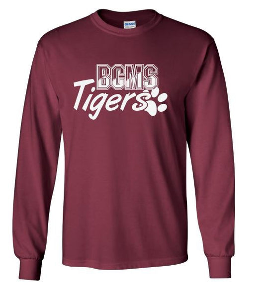 BCMS Spirit Wear 2019 BCMS Paw Design maroon long sleeve t-shirt.