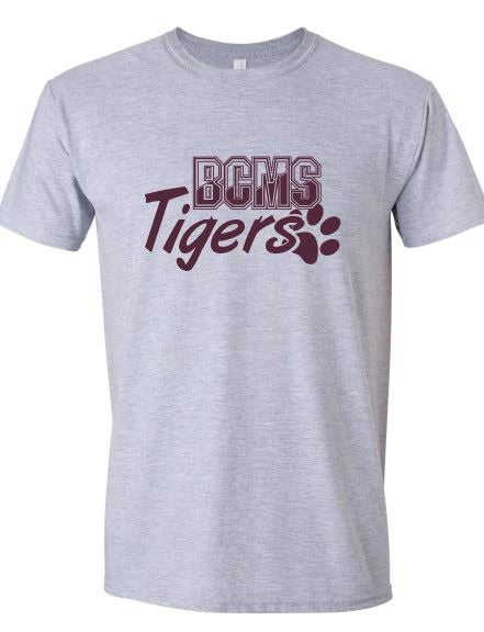 BCMS Spirit Wear 2019 BCMS Paw Print Design Sport Gray  Softstyle T-shirt