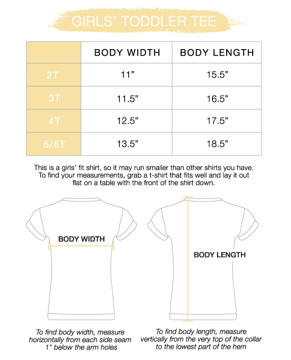 Toddler Girls' Tee Size Chart