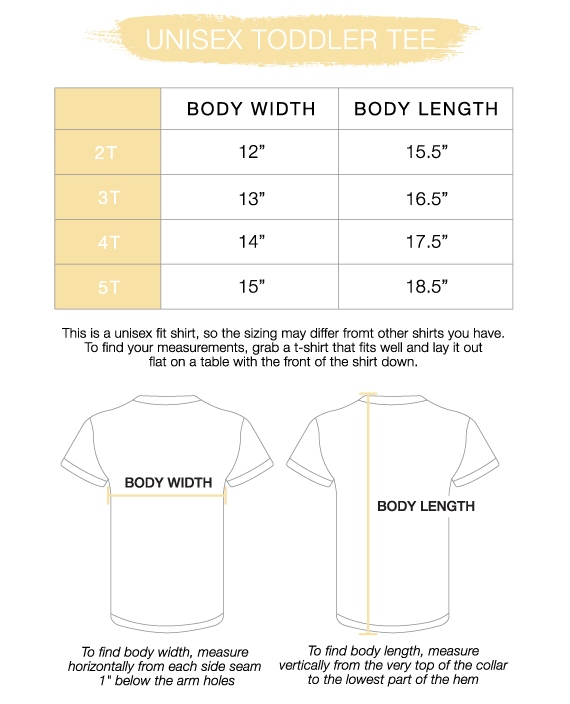 Toddler Unisex Tee Size Chart