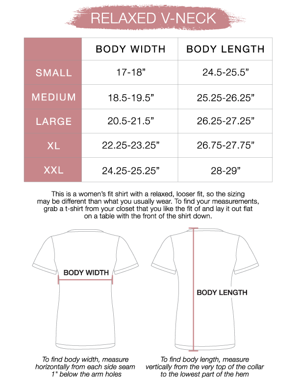Women's Relaxed V-Neck Size Chart